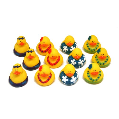 Fun Express Rubber Luau Duckies Hawaiian Hula Toy (12 Piece) - 1