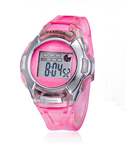 Kano Bak Fashion Child Kids Boy Girl Student Digital Crystal Alarm Sports Waterproof Waterproof Gift Watch Pink 99329