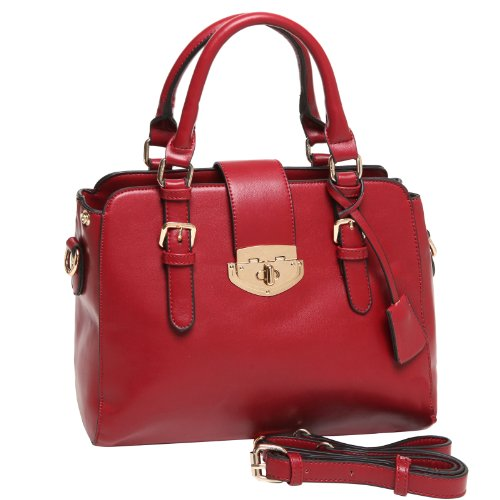 Mg Collection Roxc Red Classic Gold Décor Office Tote Style Satchel Shoulder Bag