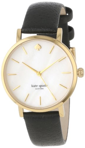 kate spade new york Women's 1YRU0010 Classic Metro Watch with Black Leather Strap