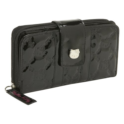 Loungefly Hello Kitty Black Patent Embossed Wallet (Black)