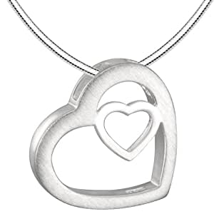 Vinani Damen-Anhänger Herz in Herz mit Schlangenkette 45 cm Sterling Silver 925 Kette AHR45