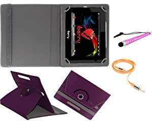 Gadget Decor (TM) PU LEATHER Rotating 360° Flip Case Cover With Stand For zync Quad 7i + Stylus Capacitive Pen + Free Aux Cable -Purple