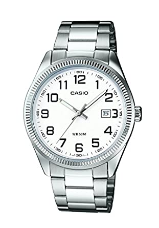 Casio - MTP-1302D-7BVEF - Montre Homme - Quartz Analogique - Cadran Blanc - Bracelet Acier Argent
