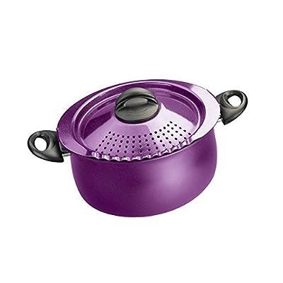 5 Quart, Twist & Lock Lid for Easy Straining Pasta Pot in Purple