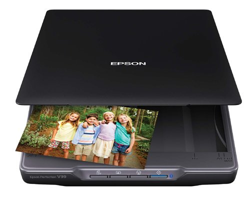 Epson Canada Perfection V39 Colour Photo and Document Scanner with Scan-To-Cloud, 4800 by 4800 DPI, Black