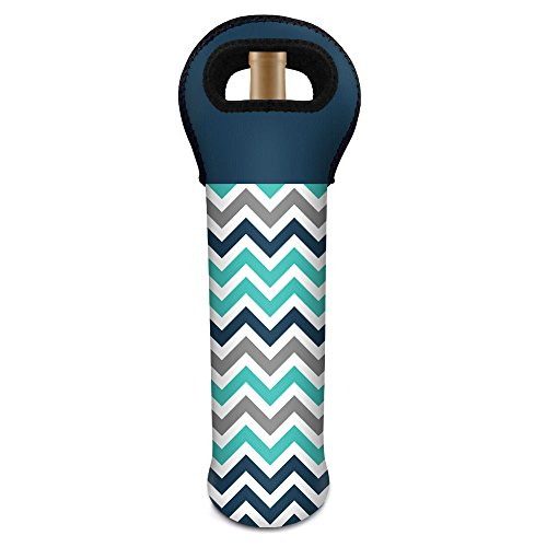 LEEVAN Wine Insulated Carrier Chevron Pattern 15 inch Tall Wine Picnic Beverages Cooler Bag Waterproof Neoprene Carrying Tote, Navy+Teal (Wine Cooler Tall compare prices)