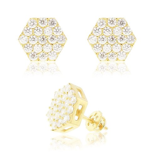 Real Genuine Solid 925 Sterling Silver 14k Gold Plated 10mm Cubic Zirconia Screw Back Hexagon Earrings