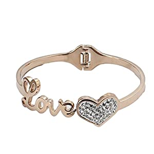 AmDxd Jewelry Titanium Steel 18K Rose-Gold-Plated Women's/Men's Fashion Bangle Bracelet Heart Rose Golden from AmDxd
