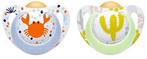 NUK 10173079 Genius Color Latex-Schnuller, kiefergerechte, zahnfreundlich, 18-36 Monate, BPA frei, 2 Stück, Boy