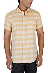 INTEGRITI Men's Casual Shirt (PLAY-SH-068 HSNSLF STRPLYLW_XL, Yellow and White, X-Large)