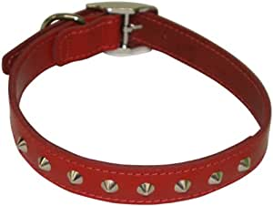 BBD 18-21-inch Studded Leather Collar, Red