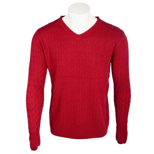 Harbour Classic Men's Burgundy All Over Cable Knit V-Neck Jumper in Size XLarge