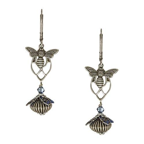 [NoMonet Flower Fairy Vintage Style Hand Painted In The Arbor Dangle Earrings - Blue] (Fairy Princess Costume Diy)