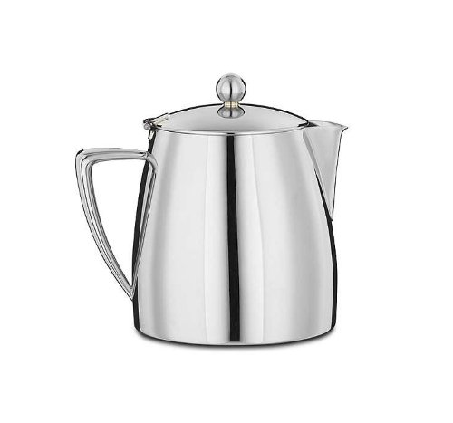 Art Deco Double Walled Stainless Steel Tea Pot 1 Litre (35 fl. oz.)