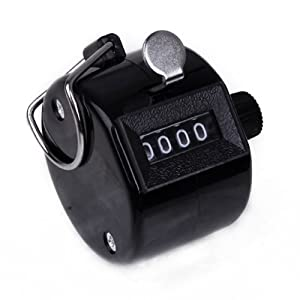 HDE 4-Digit Manual Number Hand Tally Counter Golf Clicker (Black)