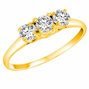 DivaDiamonds 14K Yellow Gold 3 Three Stone Round Brilliant Diamond Engagement Ring (1/2 cttw) - Size 6