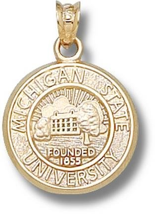 Michigan State Spartans Seal Pendant - 14KT Gold Jewelry by Logo Art