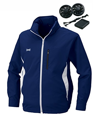 空調服 作業服 フード付き長袖スタッフジャンパー電池ボックス/ファン(空調服基本セット)《099-KU90521》 (M, 3-ネイビー)