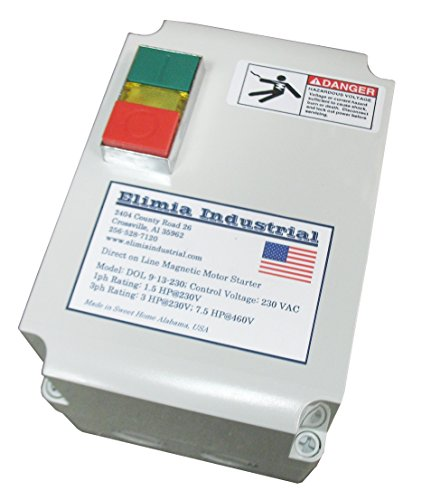 Elimia Enclosed Magnetic Motor Starter, Single Phase, 3 HP, 230V, 1 Phase,Nema 4X, 12-18 Amp Overload, Made in USA 230v 15 Amp