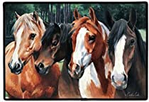 Doormat Gift Shop - Crazy Horses Western Horse Doormat Rug Mat Home Decor