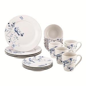Paula Deen 59994 Dinnerware Indigo Blossom Stoneware Printed Dinnerware Set, 16 Piece