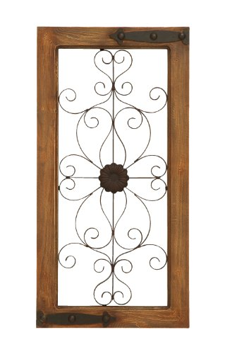 Benzara 52750 Wooden Auburn Tinged and Metal Wall Panel with Floral Design at Amazon.com
