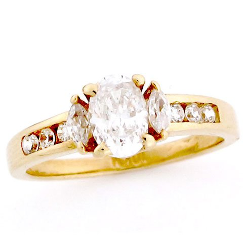 10K Solid Yellow Gold Channel Set Oval CZ Promise Ring