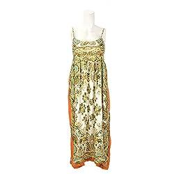 Beautiful Clothes White Orange Beach Dress Rayon Crepe Dress For Women (BCA 2041)
