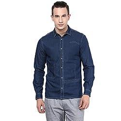 Atorse Mens Medium Blue Casual Denim Shirt