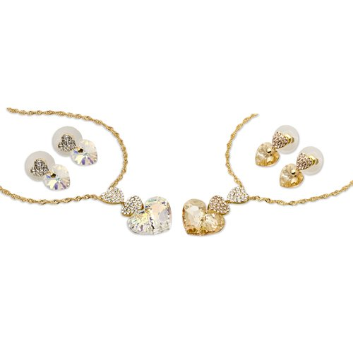 Swarovski® Hearts Trio Set; Stunning Single Swarovski Heart Crystal Pendant and Matching Earrings. 3 Hearts Pendant with final Heart a Single 15mm Gem Swarovski Crystalized Element. One of our Finest Designs for Occasional Jewellery and a prefect Gift to