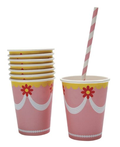 Party Partners Design Retro Sweet Soiree Themed Hot or Cold Paper Drink Cups, Pink/Orange, 8 Count