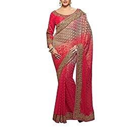 Sareeshoppers Faux Georgette Saree With Blouse Piece(Bhar-015_Red Golden)