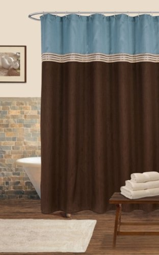 Lush Decor Terra Shower Curtain, Blue/Chocolate