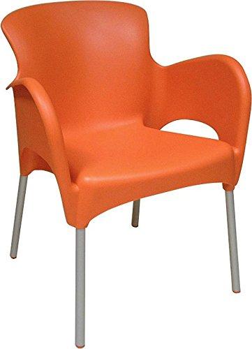 TITAN termoplastica accatastate POLTRONA - Arancione 79cm con schienale alto, 57cm profonda, 58CM larghezza e 4cm altezza sedile (2)
