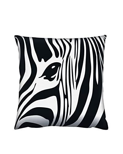 Gravel Zebra Print Throw Pillow, Black/White