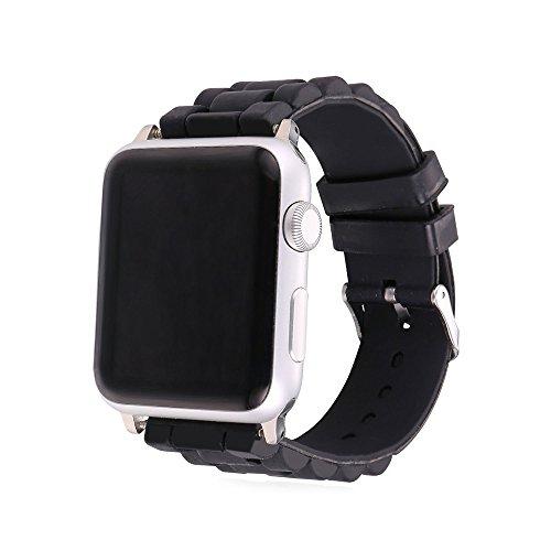[バンドマックス]Bandmax Apple Watch Band 38mm シリカゲル 防水バンド シリコーン アップルウオッチ バンド スポーツ ステンレス留め金 ブラック[APB2229]
