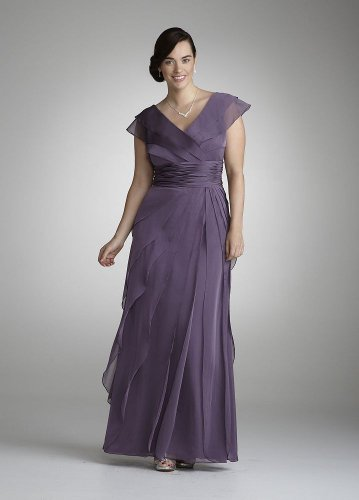 Cheap David's Bridal Bridesmaid Dresses Flutter Sleeve Chiffon Tiered Dress Style 082844461