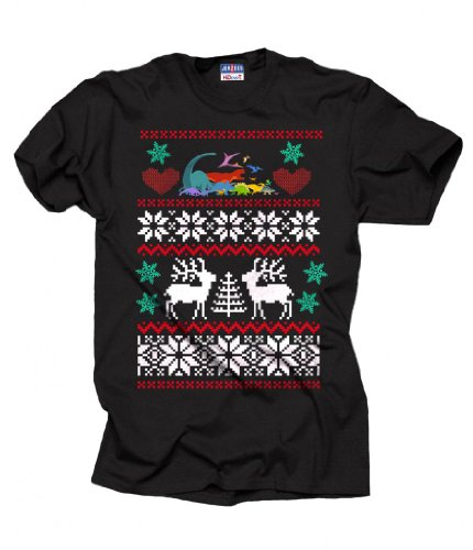 Christmas Dinosaur T-Shirt Ugly Sweater Style Tee Shirt Xx-Large Black