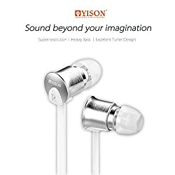 YISON EX700 WHITE - Noise Cancelling and Clear Bass In-ear earphones with Metal Wire Earlap, 3 Pairs of Earplugs (S/M/L), Remote and Mic