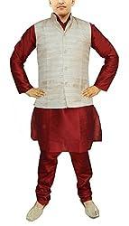 JBN Creation Men Maroon Raw Silk Kurta Pyajama With Matka Silk Jacket (40)
