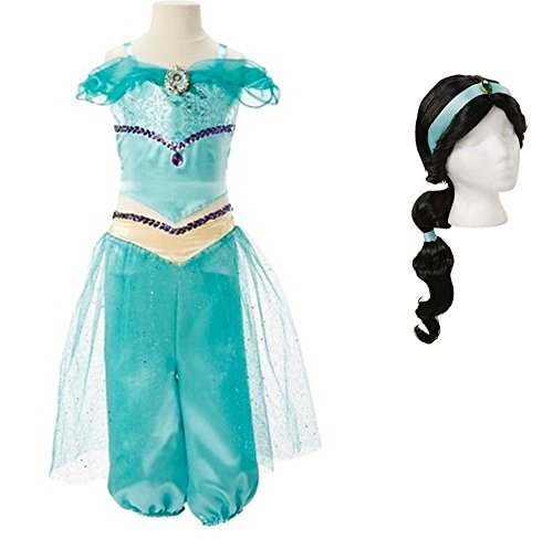 Disney Aladdin Princess Jasmine Costume Set ~ 4-6X ~ Costume & Wig ~ by Jakks Pacific