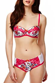 Limited Collection Floral Print Padded Balcony A-DD Bra Set [T81-8568P-S]