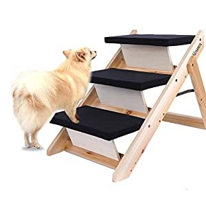 Homdox Wooden Folding Pet Stairs Home Pet Animal Dog Ramp 3 Step Stairs Steps