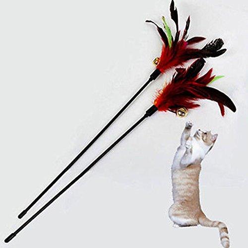 Healthy Clubs 1 lustiger Katzenspielzeug-Stab mit Feder, Spielstab mit Glöckchen -