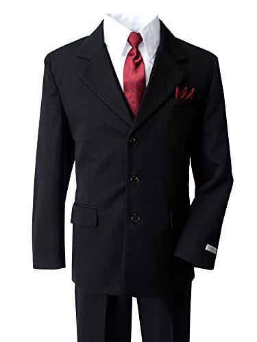 Boys Pinstripe Black Suit with Red Tie 2T