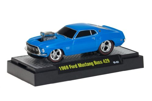 1969 Ford Mustang Boss 429 (Blue) * M2 Machines Ground Pounders Release 2 * 2010 Castline Premium Edition 1:64 Scale Die-Cast Vehicle (10-02)