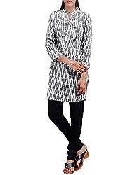 Unnati Silks Women Pracheen kala cream-black Pochampally cotton kurti