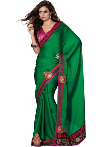 Fabdeal Indian Pakistani Green Embroidered Saree (CSU107009ASWGT)