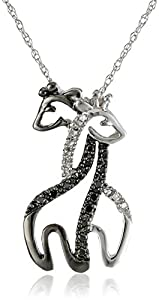 XPY 10k White Gold Black and White Diamond Giraffe Pendant Necklace, 18